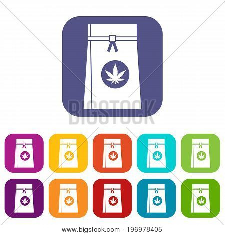 Bag with cannabis icons set vector illustration in flat style in colors red, blue, green, and other