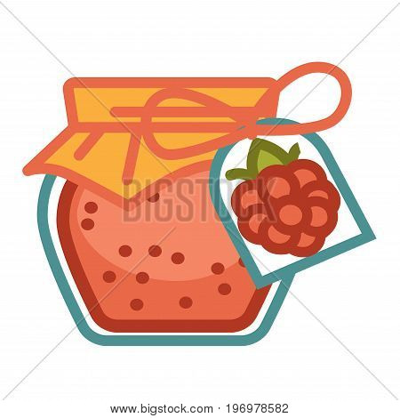 Vector illustration of glass jar with preserved raspberry jam isolated on white.