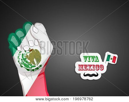 illustration of hand in Mexico flag background, mexico flag and mustache with Viva Mexico Text on the occasion of Mexico Independence Day