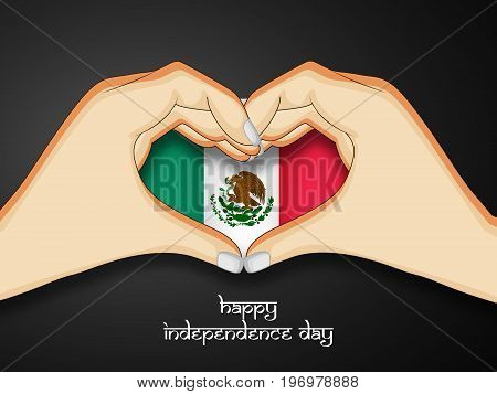 illustration of hands in heart design in Mexico flag background with Happy Independence Day Text on the occasion of Mexico Independence Day