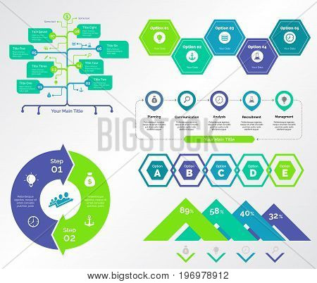 Infographic design set can be used for workflow layout, diagram, annual report, presentation, web design. Business and planning concept with process, flow and percentage charts.