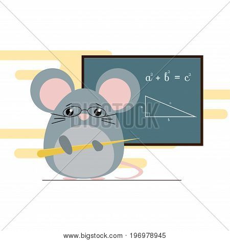 Vector Illustration Of Mouse - Teacher Standing With Board And Teaching Of Geometry Theorem. Cute Fl