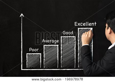 Businessman hand writing graph growing step ranking for business on the chalkboard Excellent concept