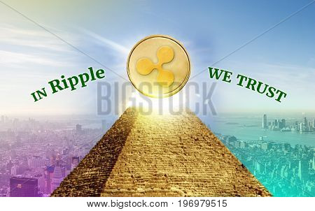 Ripple Cryptocurrency secured chain In god we trust concept