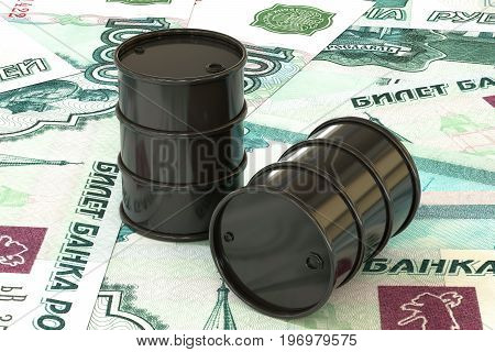 3d illustration: Dark barrels of oil lie on the background of ruble, rouble money. Petroleum business, black gold, gasoline production. Purchase sale, auction, stock exchange. Russian government.