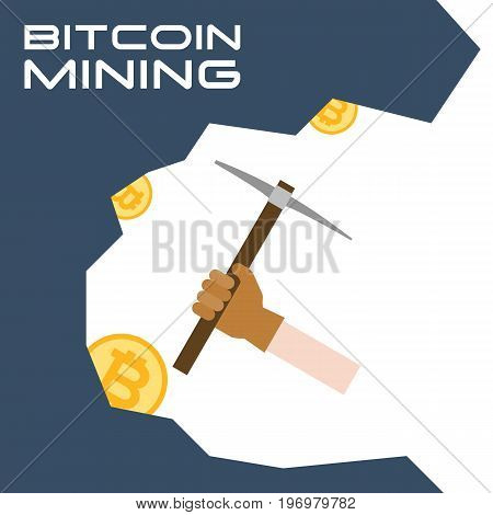 hand with glove use pickaxe digging for bitcoin, bitcoin mining concept