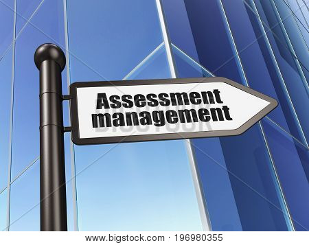 Business concept: sign Assessment Management on Building background, 3D rendering