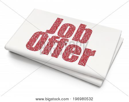 Finance concept: Pixelated red text Job Offer on Blank Newspaper background, 3D rendering