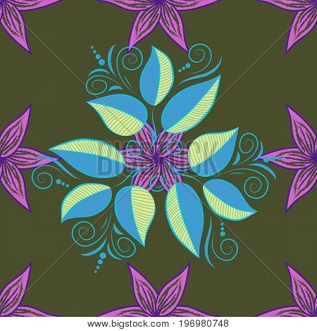 Nice leaf vector pattern. Colour Spring Theme seamless pattern Background. Flat Leaf Elements Design. Leaves on colored background.