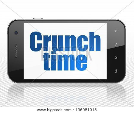 Finance concept: Smartphone with blue text Crunch Time on display, 3D rendering