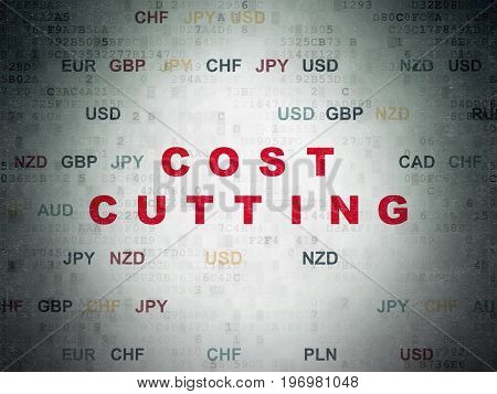 Finance concept: Painted red text Cost Cutting on Digital Data Paper background with Currency