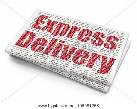 Business concept: Pixelated red text Express Delivery on Newspaper background, 3D rendering