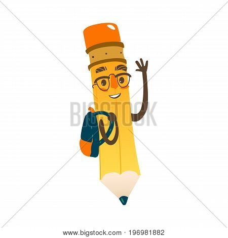 Vector cartoon humanized pencil with arms and face emotions, in glasses wearing schoolbag. Flat isolated illustration on a white background. Happy, smiling character, Back to school concept