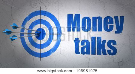 Success business concept: arrows hitting the center of target, Blue Money Talks on wall background, 3D rendering