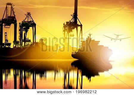 Container Cargo ship and Cargo plane with working crane bridge in seaport at sunset time logistic import export background and transport industry.