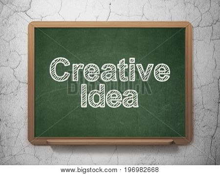 Business concept: text Creative Idea on Green chalkboard on grunge wall background, 3D rendering