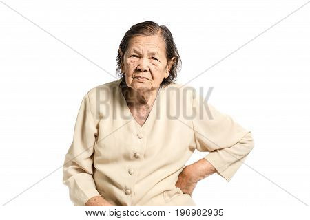 Portrait Of A Senior Woman Having A Waist Pain. Isolated On White Background With Clipping Path