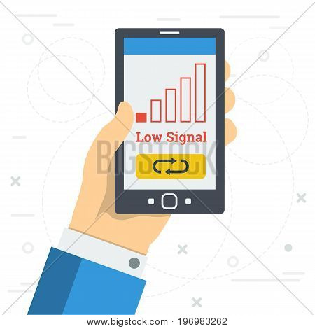 Vector square illustration - LOW SIGNAL of mobile. Hand with smart phone in zone with weak cellular coverage and the reset button on monitor in flat style