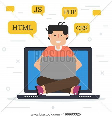 Vector flat illustration of sitting young happy working programmer with laptop. At top many signs with code CSS, HTML, JS and PHP. Suitable flat design for animation