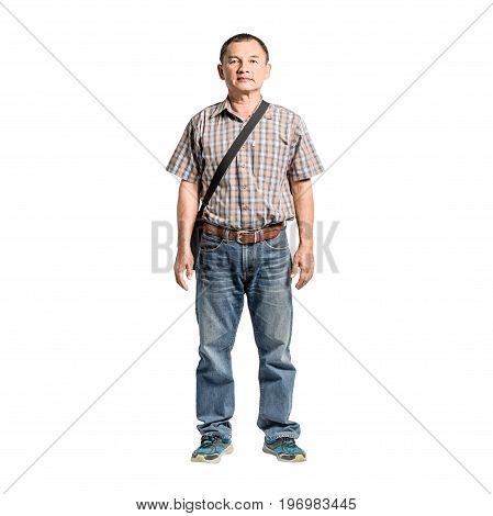 Portrait Of A Happy Mature Man Standing In Scott Shirt And Blue Jeans. Isolated Full Length On White