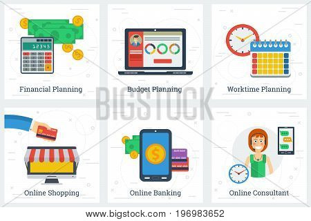 Vector six square business flat concepts of online services and planning process. Financial, worktime and budget planning and shopping, banking and consultant in flat style