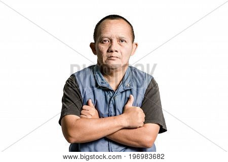 Portrait Of A Man With Down Syndrome. Isolated On White Background With Copy Space And Clipping Path