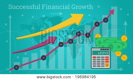Vector horizontal business banner. Concept of analytics, accounting and financial growth. Chart up, calculator, arrows and money on blue background in flat style