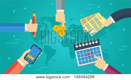 Vector horizontal banner of successful cooperation. Hands holding smart phone, calendar, pencil, money and documents in flat style on green blue background