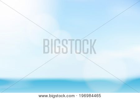 vector beautiful natural style of life. sunlight glitter lens flare, soft bokeh bright clouds light blue wave cool sea background, illustration abstract simplicity for advertising products background