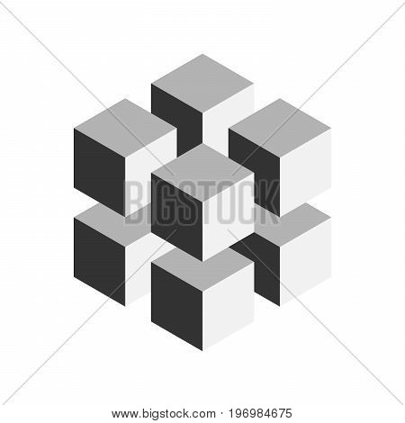 Grey geometric cube of 8 smaller isometric cubes. Abstract design element. Science or construction concept. 3D vector object.