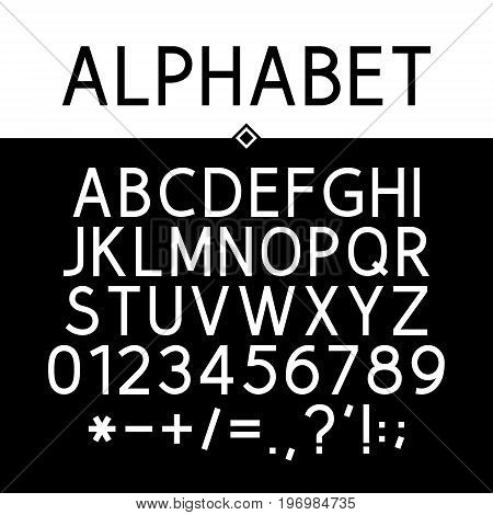 Black Alphabet Numbers and Mathematical Signs Strict Typeface Vector Illustration
