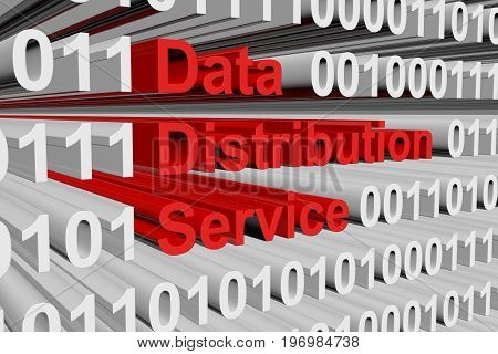 Data Distribution Service in the form of binary code, 3D illustration