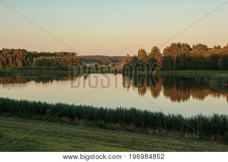 Lithuanian Rural Scenery In The Evening