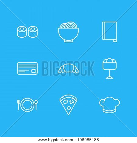 Editable Pack Of Hat, Sundae, Dessert And Other Elements.  Vector Illustration Of 9 Eating Icons.