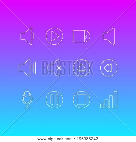 Editable Pack Of Acoustic, Lag, Decrease Sound And Other Elements.  Vector Illustration Of 12 Melody Icons.