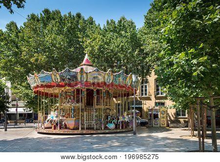AIX-EN-PROVENCE FRANCE - JUNE 21 2017: Famous Carousel in Aix-en-Provence. France