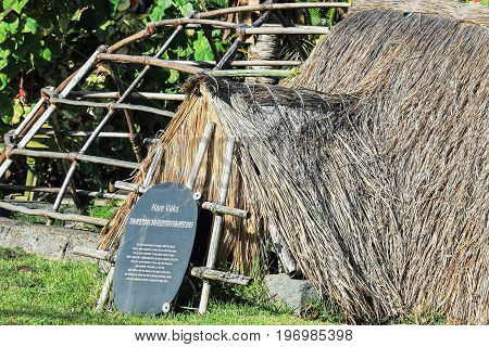 Honolulu Hawaii - May 27 2016: An example of a traditional Rapa Nui Hare Vaka House on display at the Polynesian Cultural Center a popular tourist attraction on Oahu.