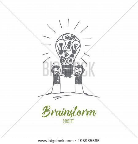 Brainstorm concept. Hand drawn brainstorming process. People sharing their ideas isolated vector illustration.