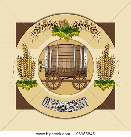 Beer barrel with cart. Beer festival celebration. Beer barrel. Vector illustration of Oktoberfest. Hops beer
