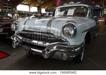 PAAREN IM GLIEN GERMANY - MAY 23 2015: Full-size car Pontiac Chieftain 1956. The oldtimer show in MAFZ.