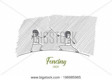 Fencing concept. Hand drawn fencing players on ring. Two fencers attack each other isolated vector illustration.