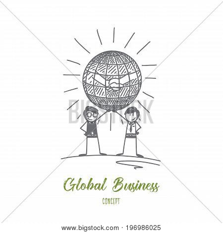 Global business concept. Hand drawn two men holding the world in hands. Symbol of global business and communications isolated vector illustration.
