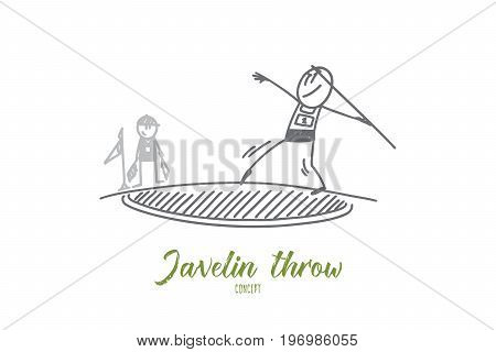 Javelin throw concept. Hand drawn male athlete preparing to throw javelin. Athlete throwing javelin isolated vector illustration.