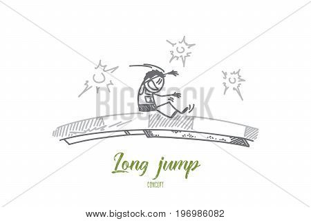 Long jump concept. Hand drawn male person practicing long jump. Athlete on sport competition isolated vector illustration.
