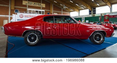 PAAREN IM GLIEN GERMANY - MAY 23 2015: Mid-size car Chevrolet Chevelle SS3454 Hardtop Coupe. Side view. The oldtimer show in MAFZ.