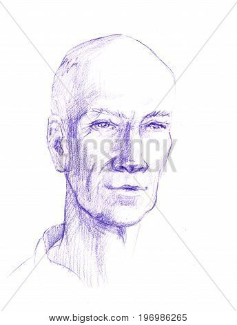Portrait of man isolated, sketch line. The head of an adult is painted with a pencil.
