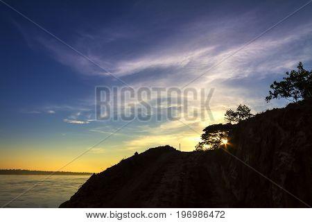 Dawning sunrise at Mekong River Khemarat DistrictUbon Ratchathani Province Thailand