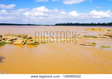 Mekong Rive and reef at Khemarat DistrictUbon Ratchathani Province Thailand