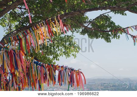 Wish tree with color decorated tapes. Make a wish concept.
