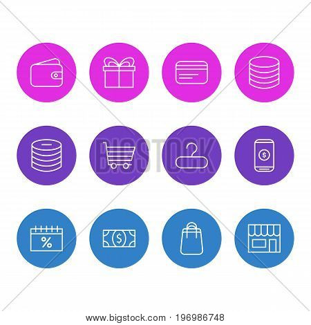 Editable Pack Of Shopping, Present, Payment And Other Elements.  Vector Illustration Of 12 Wholesale Icons.